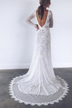 Mai Long Sleeve Lace Wedding Dress with Open Back