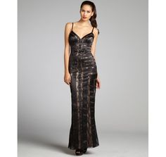 Aidan Mattox black and nude lace sequin embellished banded gown | BLUEFLY up to 70% off designer brands