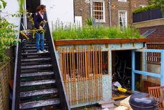 Tiny Green Roofed Bike Shed in London is Made from Recycled Yogurt Containers | Inhabitat - Sustainable Design Innovation, Eco Architecture, Green Building
