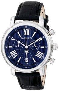 Earnshaw Men's Longcase Swiss Quartz Blue Dial Leather Watch