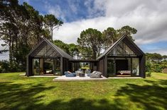 CAAHT Studio Architects created this vacation retreat consisting of two simple gable cabin forms, located in Matarangi, New Zealand. Indoor Outdoor Living, Outdoor Rooms, Terrasse Design, Cedar Cladding, Living In New Zealand, Architecture Awards, Architecture Design, Cabin Homes, My House