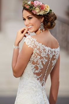 Love the illusion lace racer-back on this Stella York wedding dress