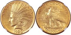 1920 S $10 Gold Indian AU55 NGC sold for $38,187.50 in Heritage Auctions Summer FUN U.S. Coins Signature Sale in Orlando July 10-13, 2014...One of several highlights was not the highest priced coin in the sale but one that is quite rare in all grades, the 1920 S $10 Gold Indian. Besides the 1933 and the 1907 Rolled Edge, the 1920 S is one of the keys to this short series. There are only 16 coins certified in this grade by both services...