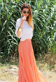 long pleated skirt  , Miu Miu in Glasses / Sunglasses, H in Jewelry, Zara in Skirts