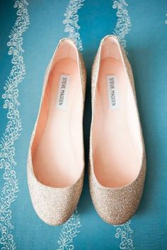 Steve Madden, Sequined Wedding Flats I& decided heels aren& worth it for all the standing ill be doing! Low Heel Shoes, Low Heels, Wedge Shoes, Flat Shoes, Wedge Wedding Shoes, Bridal Shoes, Wedding Flats For Bride, Bridesmaid Shoes Flat, Gold Wedding Shoes