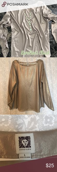 Anne Klein Gorgeous Gold Loose Top Size L Gorgeous, metallic, sheer gold colored Anne Klein long sleeve top in a size Large. The sleeves have ruching by the wrists and the top is intended to be worn loose. This top is sooo pretty, the pictures don't do it justice. Excellent condition!!! Anne Klein Tops