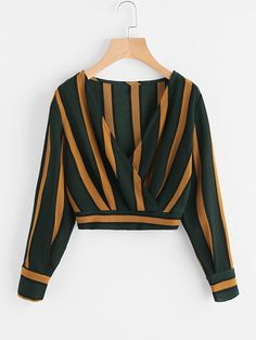 Shop V Neckline Striped Surplice Crop Top online. SheIn offers V Neckline Striped Surplice Crop Top & more to fit your fashionable needs. Teen Fashion Outfits, Trendy Outfits, Trendy Fashion, Cute Outfits, Fashion Women, Dress Fashion, Fashion Styles, Style Fashion, Fall Fashion