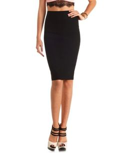 High-Waisted Bodycon Pencil Skirt: Charlotte Russe