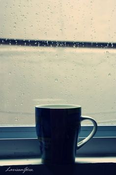 This picture has almost everything I love in life! rain and tea ;)