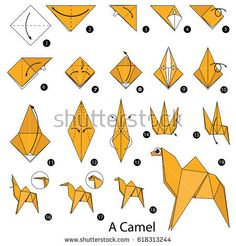 Step by step instructions how to make origami A Camel. Gato Origami, Design Origami, Instruções Origami, Origami Swan, Origami Yoda, Paper Crafts Origami, Origami Flowers, Origami Ball, Origami Instructions