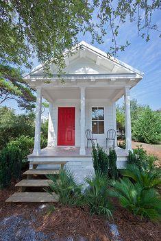 Seaside, Florida Tiny house home cabin cottage via Angela Axiarlis Little Cottages, Small Cottages, Cabins And Cottages, Beach Cottages, Little Houses, Tiny Houses, Guest Houses, Cob Houses, Tiny Cabins