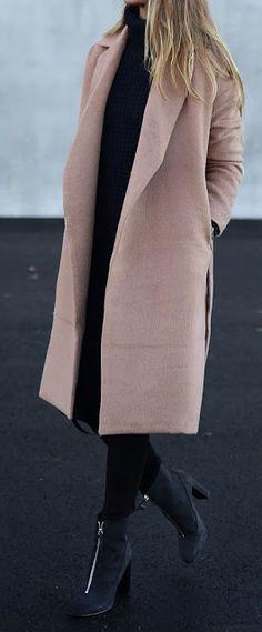 Winter look Conjunto de inverno Tons nude Casaco rosa claro Rose coat