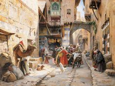 Gustav Bauernfeind - A Street Scene, Damascus (detail). He's painted himself in the midst of the crowd, with a white 'tropic helmet' and sketch book.
