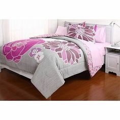 Pink Grey Floral Gray COMFORTER+SHEETS+SHAM+SET Dorm Teen Kid Room Girls Bedding