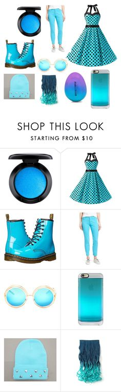 """""""feeling blue"""" by miss-perfiet on Polyvore featuring MAC Cosmetics, Dr. Martens, NYDJ, Casetify and New Look"""