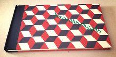 Cuaderno encuadernacion a la greca con tapas en cartone decorado. Papel Saunders Waterford-300gr/m2-GG. #horizontesplegados
