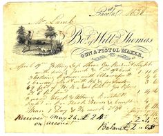1838 UK billhead for a gun and pistol maker.