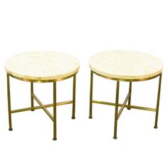 Travertine and Brass Occasional Tables by Paul McCobb for Directional