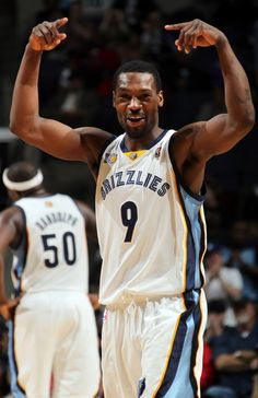 February 15, 2011 - Memphis Grizzlies Tony Allen celebrates during the fourth quarter against the Philadelphia 76ers Tuesday evening at the FedExForum.  (Nikki Boertman / The Commercial Appeal)
