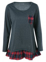 Plaid Pattern Pocket Falbala Blouse in Black Grey | Sammydress.com Mobile