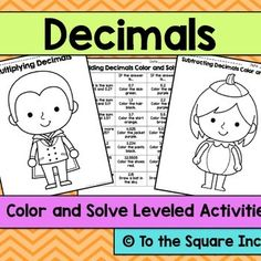 Decimals Color and Solve Halloween Pictures CCS: 5.NBT.B7, .6.NS.3Included in this product: 7 Different Solve and Color Pictures with 7 questions each. Each picture covers different topic: Naming decimals, adding decimals, subtracting decimals, multiplying decimals and whole numbers, multiplying decimals, dividing decimals and whole numbers, and dividing decimals by decimals.