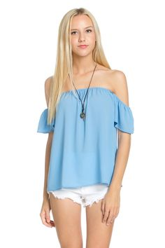Short Sleeve Off the Shoulder Flowy Denim Top
