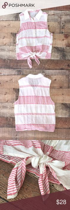 Cute striped sleeveless button up Nordstrom apparel; pocket & tie in front; light weight; excellent shape; only worn twice; will need to be ironed after wash. Size Medium but fits more like a small. Timing Tops Tank Tops
