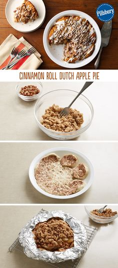 An apple pie with a cinnamon roll crust? Yes, please! Can be served as a dessert or for an extra special brunch, should you wish! You'll love this easy to make Cinnamon Roll Dutch Apple Pie recipe for (Apple Recipes Pie)