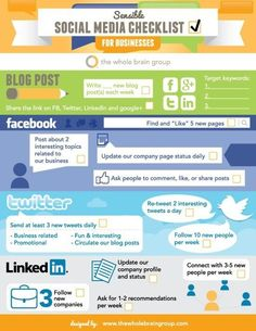 Simple social media checklist to help you build good habits. #socialmedia #smallbusiness