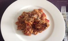 Giouvetsi Krotharaki ~ Greek Sunday Dinner (Beef, Veal or Lamb with Orzo in a Spicy Tomato Sauce)