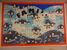 Hiku the penguin family.  School display board created by year 2 children
