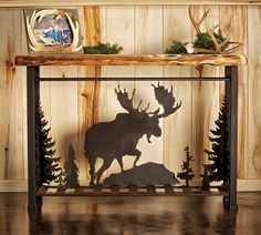 The Aspen Metal Scene Sofa Table with Bear, Moose, Elk and Buck.  #logfurnitureplace