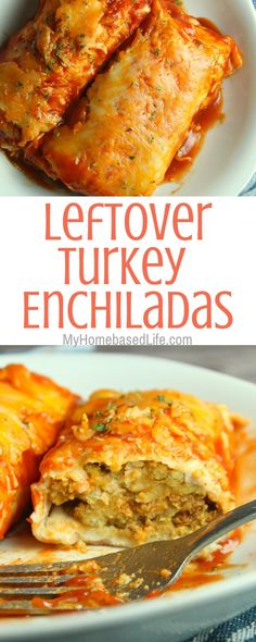 Turkey Recipes These Leftover Turkey Enchiladas as super simple to make and can be on the table in under 30 minutes which makes a great recipe for busy weeknights. Easy Leftover Turkey Recipes, Leftover Turkey Casserole, Thanksgiving Leftover Recipes, Leftovers Recipes, Thanksgiving Appetizers, Turkey Leftovers, Thanksgiving Ideas, Easy Enchilada Recipe, Turkey Enchiladas