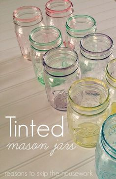 Tinted Mason Jars by Reasons to Skip the Housework plus 6 other gorgeous spring crafts you don't want to miss! Mason Jar Projects, Mason Jar Crafts, Bottle Crafts, Crafts With Jars, Diy Spring, Spring Crafts, Bottles And Jars, Glass Jars, Diy Projects To Try