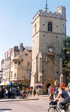 """Situated in the very heart of the town center of Oxford is Carfax tower. The name Carfax derives from the French """"carrefour"""" or """"crossroads,"""" and the tower's location makes it a good central reference point for touring the old city center."""