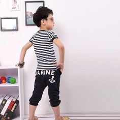 "Boy's ""Almost A Marine"" Spring/Summer Striped T-shirt + Pants Outfit - The Sorse - 2"