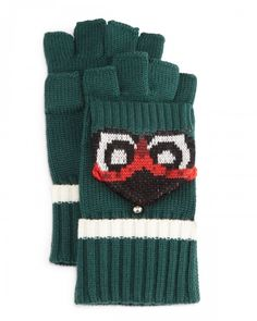 Kate Spade Owl Pop Top Mittens Women's Lilly Pad New York   Gloves and Accessory