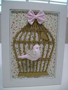 Box Frame Art, Shadow Box Frames, Shabby Chic Birdhouse, Crafts To Make, Diy Crafts, Cottage Crafts, Romantic Shabby Chic, Patchwork Baby, Baby Kit