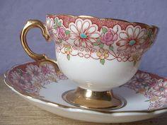 Rosina Bone China Tea Cups | English tea cup and saucer set, vintage 1940's Rosina bone china cup ...