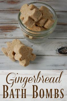 Gingerbread Bath Bombs - These smell  just like gingerbread and they are so cute! No weird ingredients or fake fragrances, not even essential oils so you know you'll have all the ingredients!  These would make adorable holiday gifts!