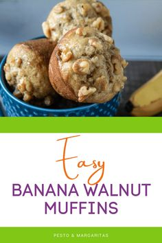Muffins are a bit baffling sometimes - cake or bread? Whatever you call them, these easy banana walnut muffins are simple to make and have tons of flavour so you can easily create a batch any time you need a treat Simple Muffin Recipe, Healthy Muffin Recipes, Delicous Desserts, Yummy Snacks, Brunch Recipes, Breakfast Recipes, Dessert Recipes, Homemade Muffins, Sweet Pastries