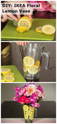 Check out how to create this easy IKEA DIY floral lemon vase centerpiece for parties and special occasions! Floral Centerpieces, Floral Arrangements, Lemon Vase, Fun Crafts, Diy And Crafts, Deco Floral, Diy Art, Event Planning, Diy Home Decor