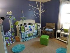 Contemporary Neutral Periwinkle Blue Giraffe Baby Nursery Room Decorating Ideas: Moms-to-be that stop by will want to know inspired your giraffe baby nursery theme - was it a book, a picture, the baby bedding set? Was the periwinkle