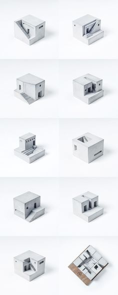 'Spaces': set of nine miniature concrete buildings by Material Immaterial