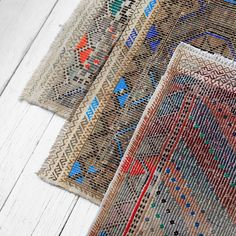 Turkish Textile Trio   Now in Shop #vintagerugs #jajim #lookingdown #nickeykehoe