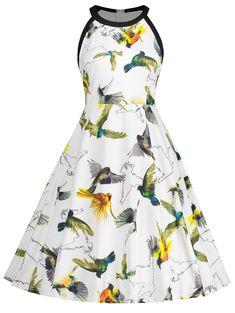 e4396754b18 Sleeveless Bird Print Plus Size Dress - WHITE 5XL Plus Size Vintage Dresses