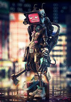 Artist: David Domingo Jiménez, Crazy, 2013 Source: Crazy - Robot Character Illustration (via whatanart) Arte Cyberpunk, Cyberpunk Aesthetic, Arte Robot, Robot Art, Robot Concept Art, Art Et Illustration, Character Illustration, Zbrush, Character Concept