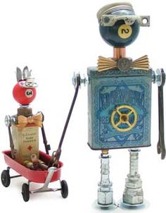 Fobots = Found Object Robots. These whimsical creations come from old tins, hardware, junk, and assorted treasures! ~ FOBOT PARENT & CHILD ~