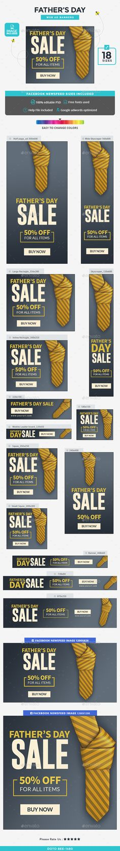 Fathers Day Banners - Image Included - Banners & Ads Web Template PSD. Download here: http://graphicriver.net/item/fathers-day-banners-image-included/16596368?ref=yinkira