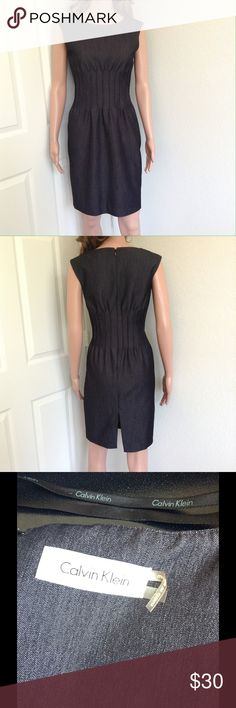"""Calvin Klein Dress Great, like new condition. No rips, holes or stains. Length fr. shoulders 35"""". Features back hem slit. Stretchy, see materials on last photo. Model is Sz Small. Calvin Klein Dresses"""